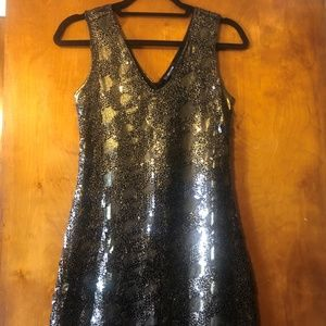 Express Black & Gold Metallic Cocktail Dress